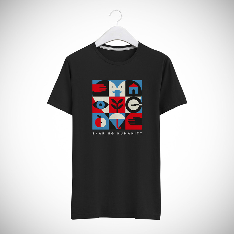 T-SHIRT UNISEX SHARING HUMANITY COLORS