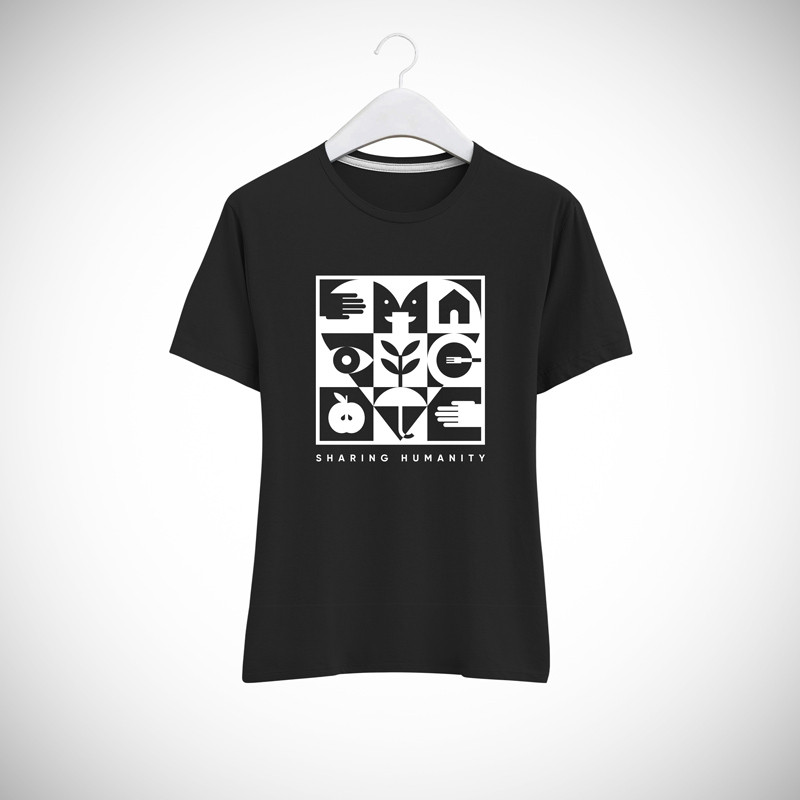 T-SHIRT DONNA SHARING HUMANITY BLACK & WHITE
